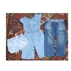 Other - Lot of Denim Jeans Romper & Shorts Gymboree 2T
